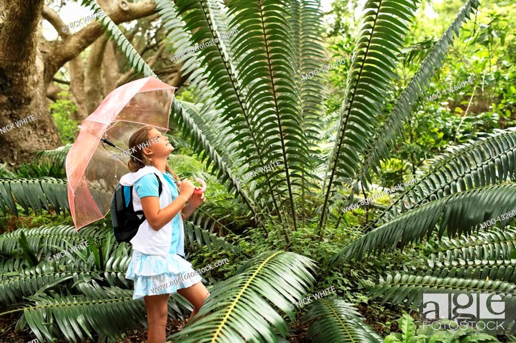 Stock Photo: Girl Looking at Large Fern.