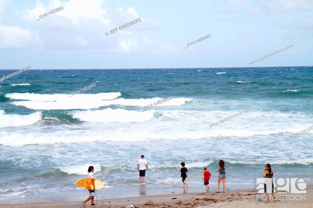 Stock Photo: Florida, Boca Raton, public beach, Atlantic Ocean, surfer, beachcomber,.