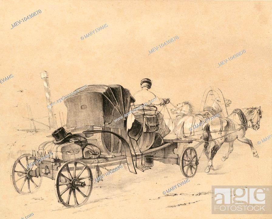 A Russian tarantass (or tarantas), pulled by three horses, Stock Photo, Photo et Image Droits gérés. Photo MEV-10430870 | agefotostock