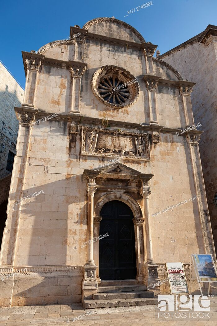 Stock Photo: Church in the Old Town on Dubrovnik, UNESCO World Heritage Site, Dubrovnik, Dalmatia, Croatia.