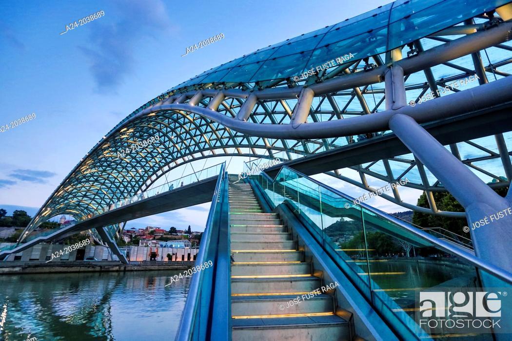 Stock Photo: Georgia , Tbilisi City,The Peace Bridge.
