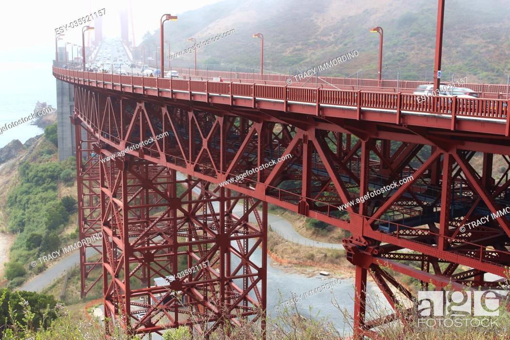 Stock Photo: The Golden Gate Bridge from Vista Point, Marin County, Sausalito, California, USA, on a foggy day.