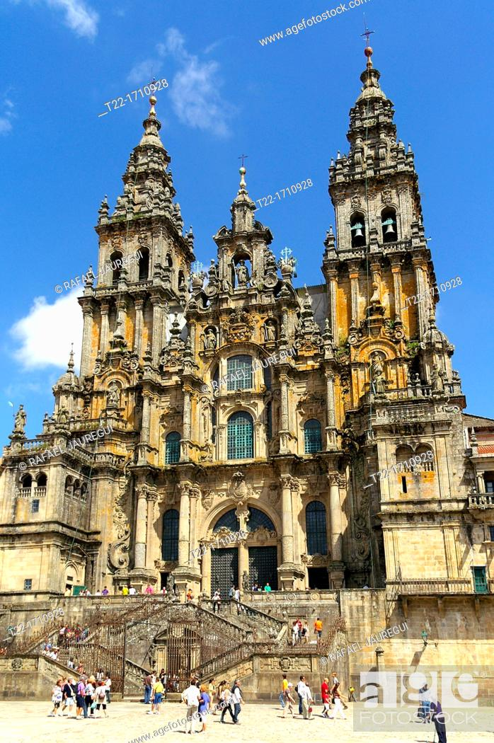 Stock Photo: Santiago de Compostela Spain  Cathedral of Santiago de Compostela and the Plaza del Obradoiro.