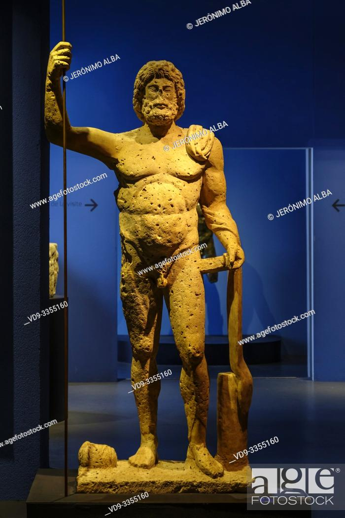 Stock Photo: Sculpture of Jupiter discovered during archaeological excavations in Mézin. Roman rests room gallo Roman era, Musée d'Aquitaine, Aquitaine museum.