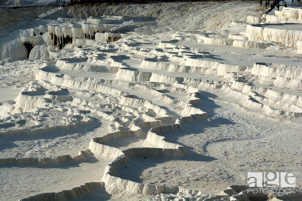 Stock Photo: The limestone terasses of Pammukale, Western Anatolia, Turkey.