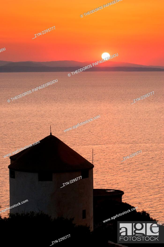 Stock Photo: Restored windmills at Tyros town. Arcadia, Peloponnese, Greece.