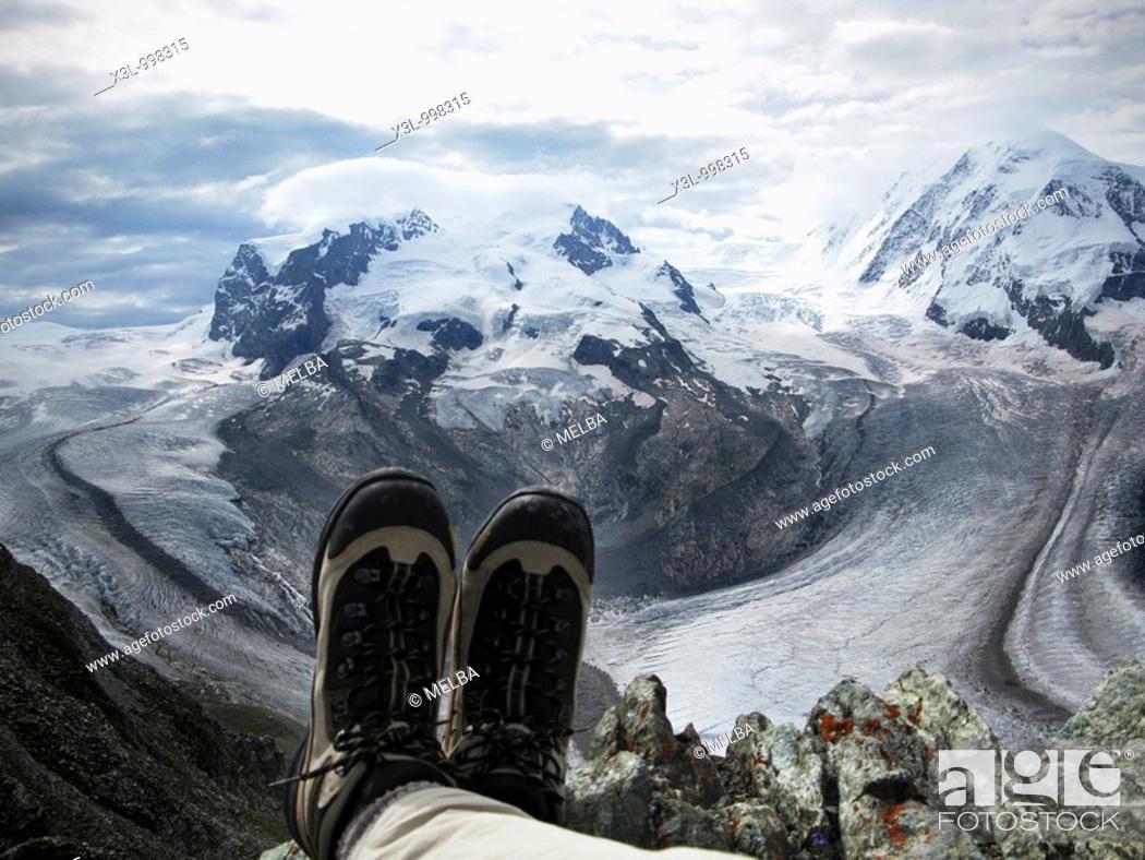 Stock Photo: Person resting in Gornetgrat glacier  Switzerland.