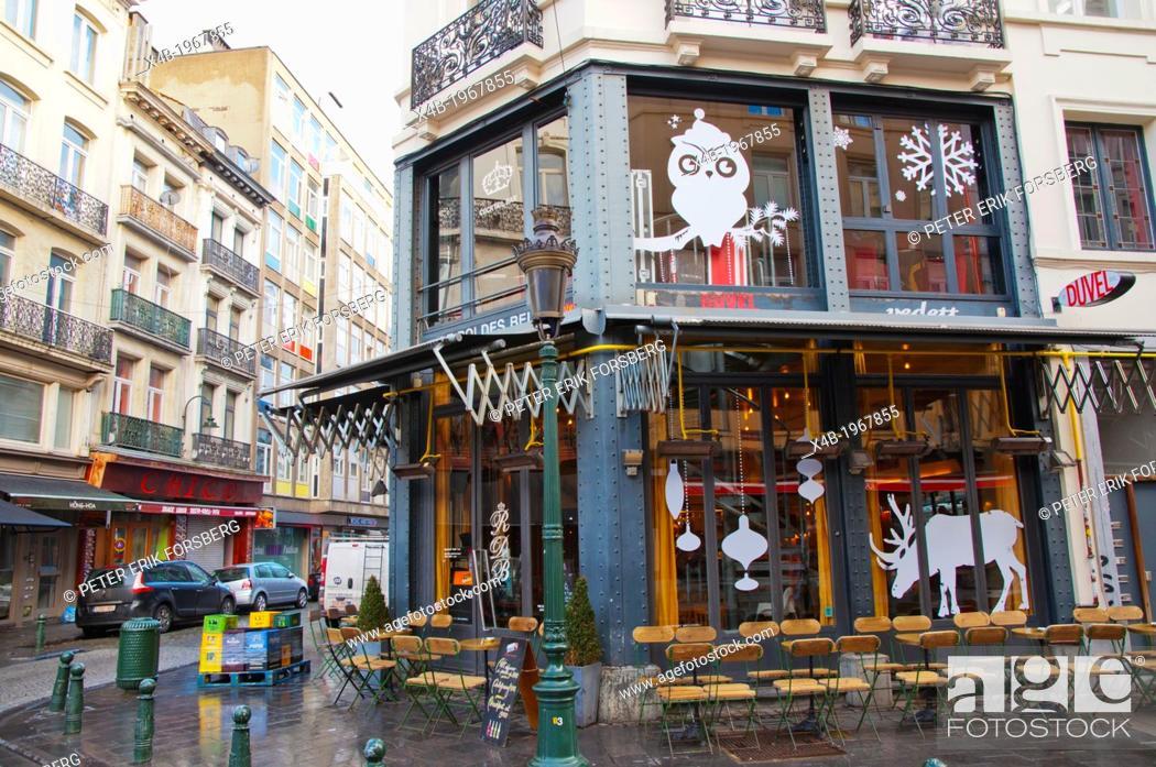 Stock Photo: Le Roi des Belges cocktail bar Jules Van Praetstraat street central Brussels Belgium Europe.