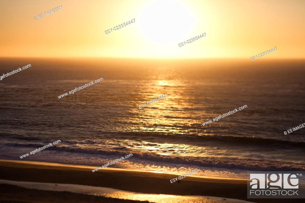 Stock Photo: Sunset off the Pacific Coast Highway, California.