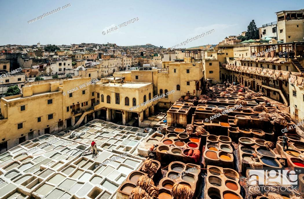 Stock Photo: Scenic view of leather tannery dye pits, Fes, Morocco.