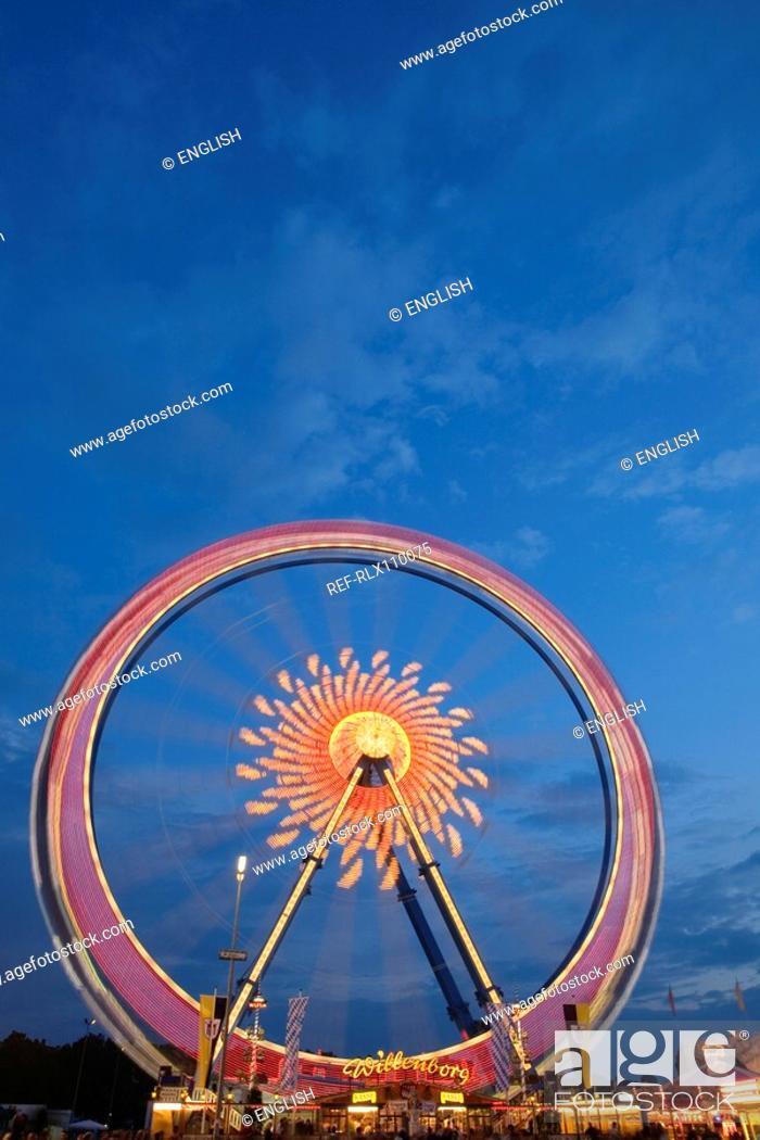 Stock Photo: Ferris Wheel at night Oktoberfest beer festival Munich, Bavaria, Germany.