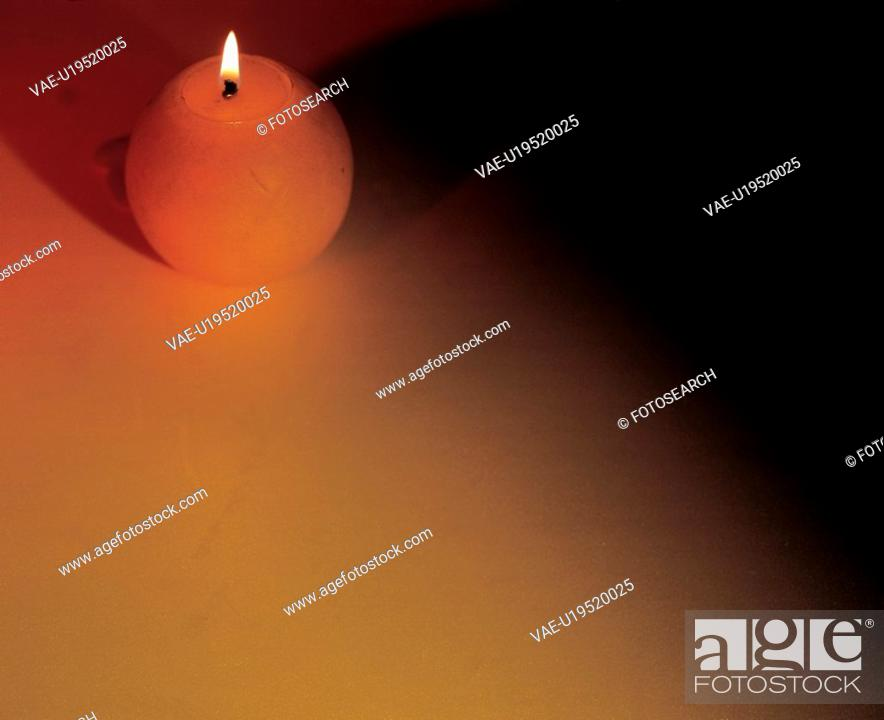 Stock Photo: object, light, flame, burning candle, candlelight, candle.