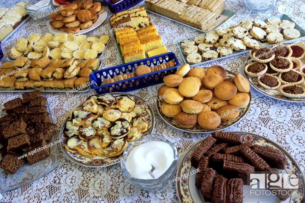 Stock Photo: Homemade Cakes, Clark Family Home, Westpoint Island, Falkland Islands.