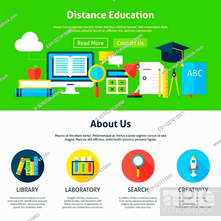 Distance Education Flat Web Design Template Vector Illustration For Website Banner And Landing Page Stock Vector Vector And Low Budget Royalty Free Image Pic Esy 027415801 Agefotostock