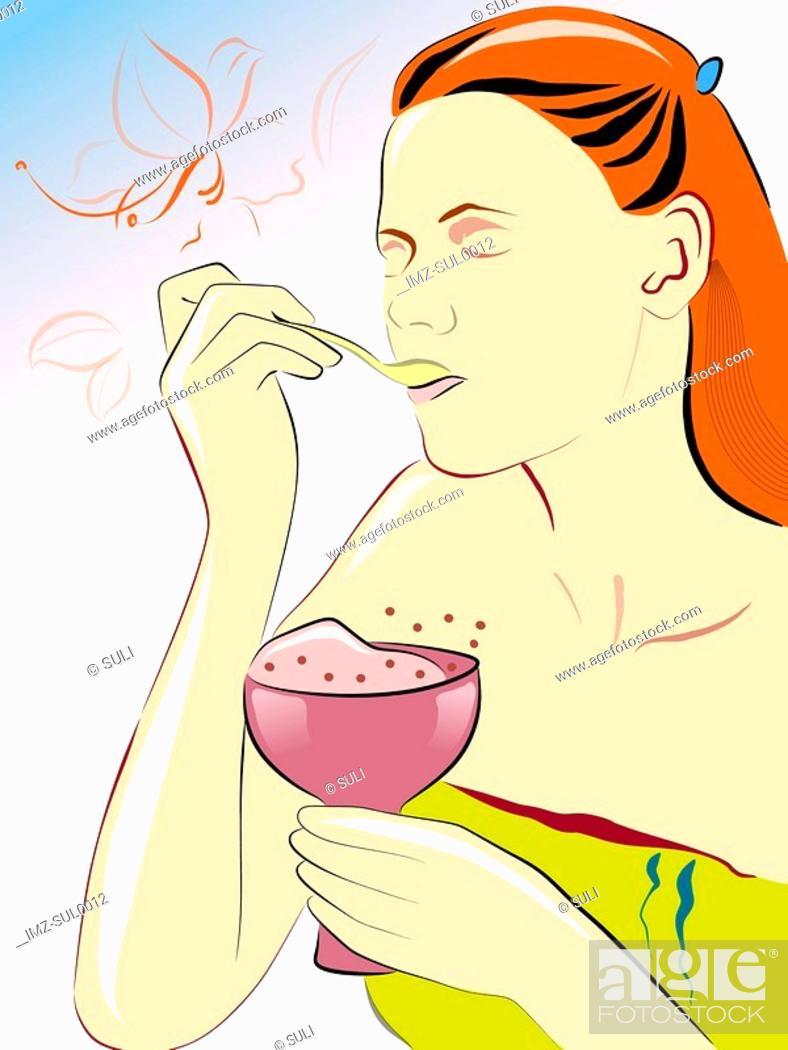 Stock Photo: woman eating dessert.