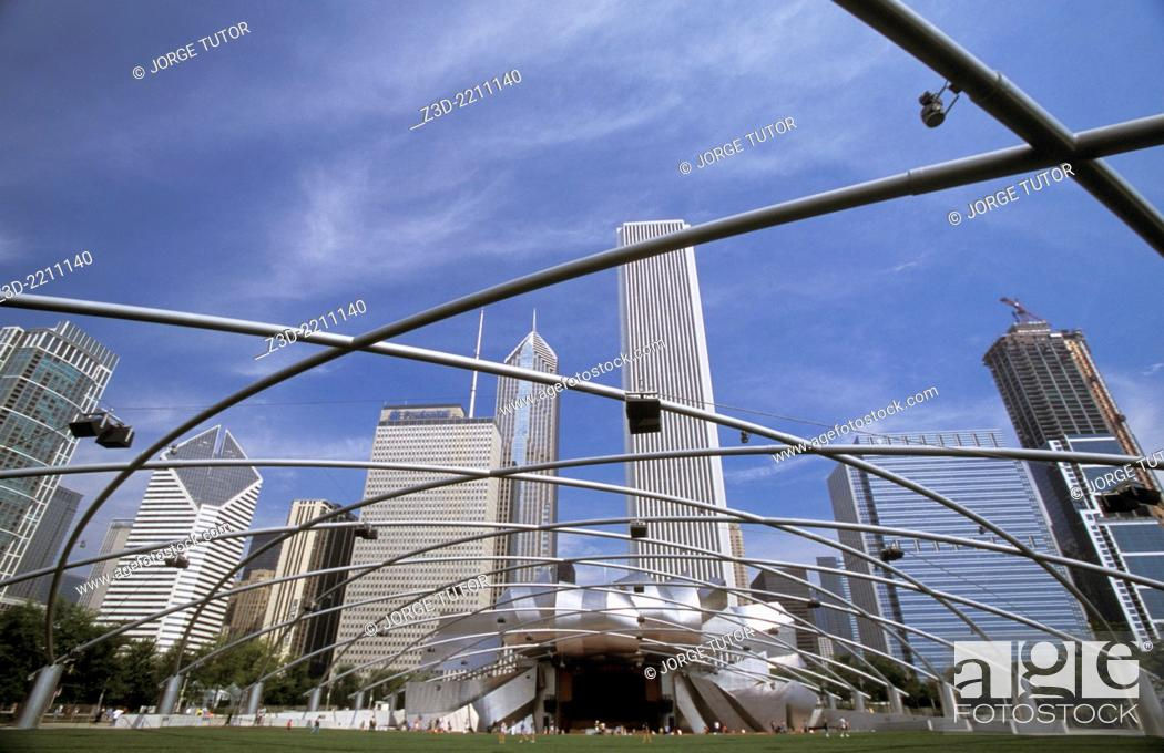 Stock Photo: The Millennium Park, Jay Pritzker Pavilion by Frank Gehry, Chicago, USA.