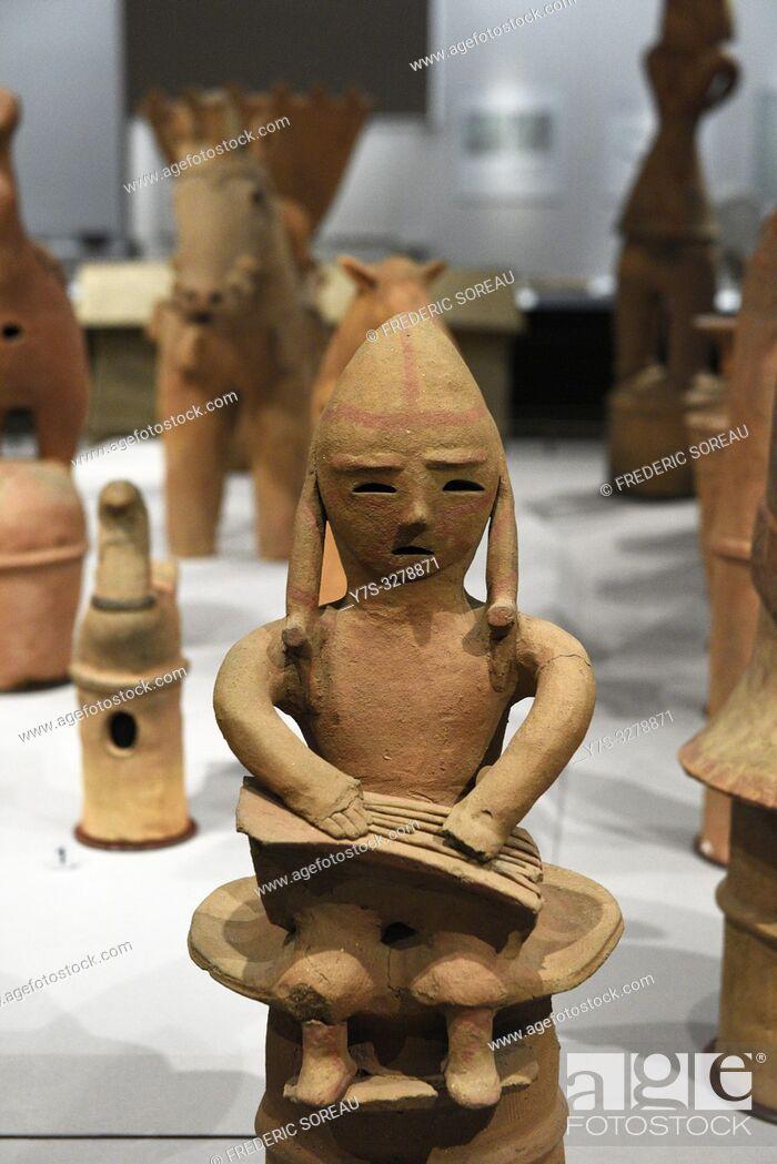 Stock Photo: Objects from Otsukayama Tumulus,Kufun period,6 th century,Tokyo National Museum,Tokyo,Honshu,Japan,Asia.