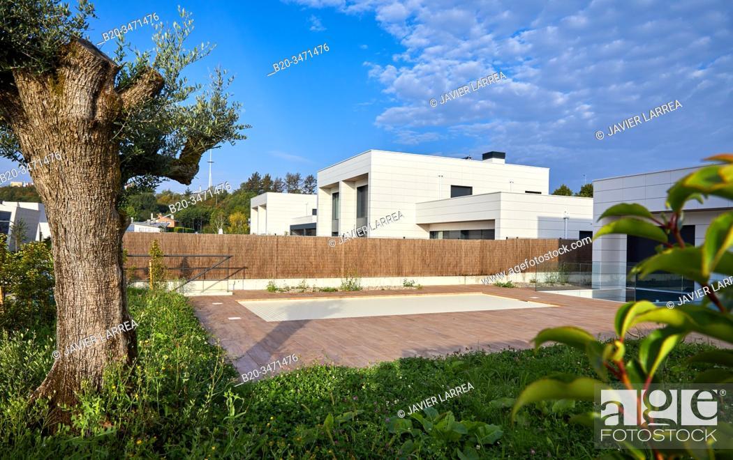 Stock Photo: Villa with pool, Dulce María Loynaz Street, Donostia, San Sebastian, Gipuzkoa, Basque Country, Spain, Europe.