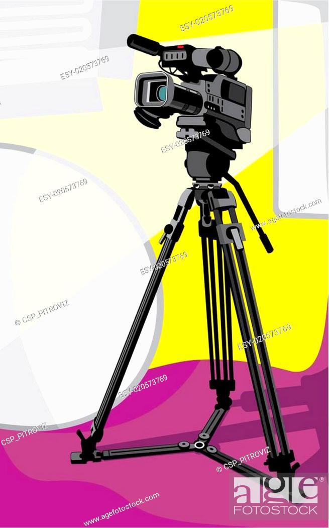Stock Vector: tv camera at studio.
