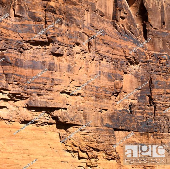 Stock Photo: Close-up of red rock wall in Utah.