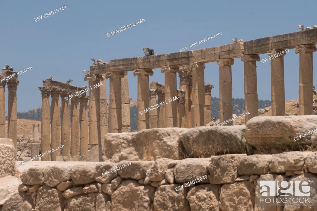 Stock Photo: Jerash (Gerasa), ancient roman capital and largest city of Jerash Governorate, Jordan, .
