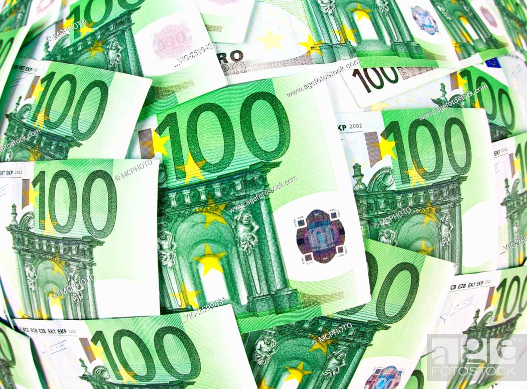 Stock Photo: Hundreds of Euro notes next to each other - 01/01/2011.
