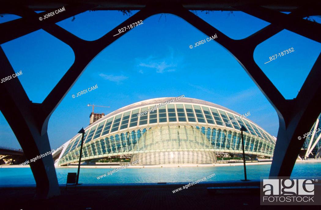 Stock Photo: Hemisferic (planetarium and cinema). City of Arts and Sciences, by S. Calatrava. Valencia. Spain.
