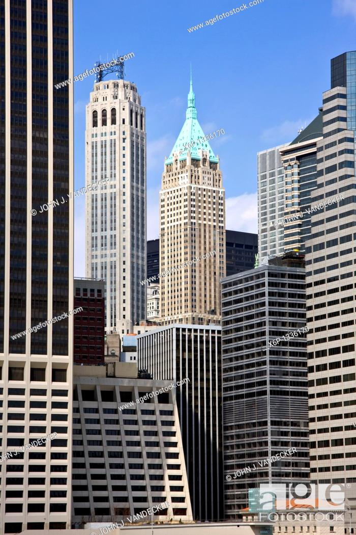 Stock Photo: Woolworth building and 20 Exchange Place landmark buildings in Lower Manhattan, New York City.