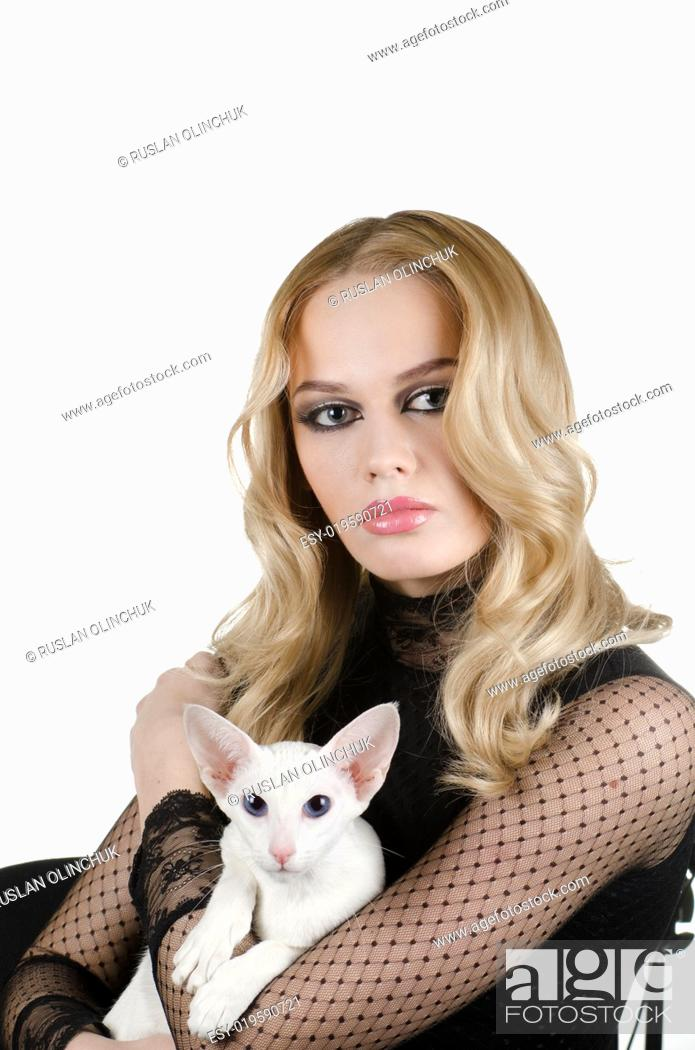 Stock Photo: woman with oriental shorthair cat.