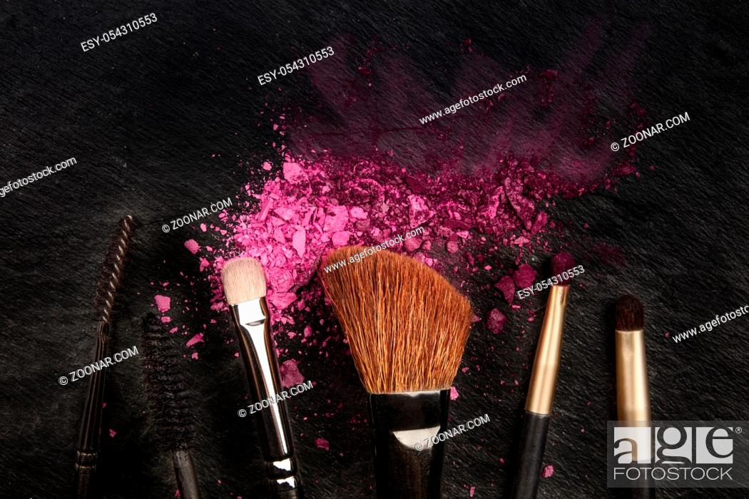 Make Up Brushes With Crushed Cosmetics Shot From Above On A Black Background With A Place For Text Stock Photo Picture And Low Budget Royalty Free Image Pic Esy 054310553 Agefotostock