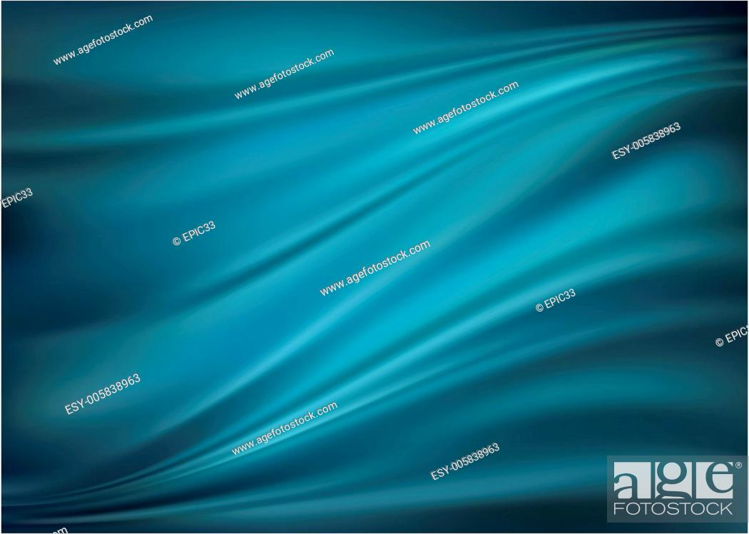 Stock Vector: Blue abstract satin curtain background.