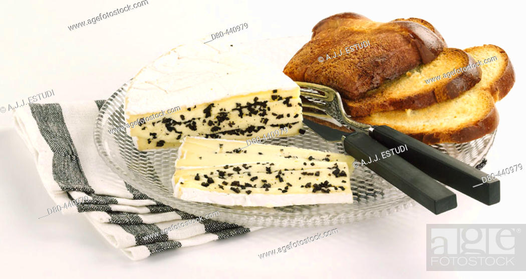 Stock Photo: Brie cheese with truffles.