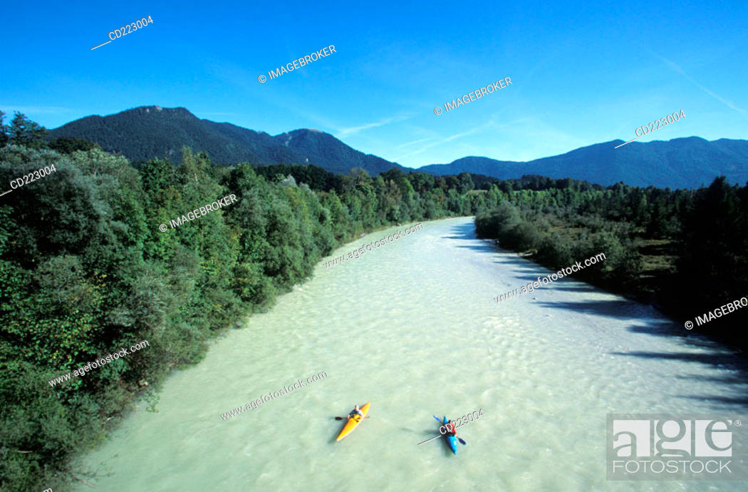 Stock Photo: Kayaks on the river Isar near Lenggries, Isarwinkel, Upper Bavaria, Germany.