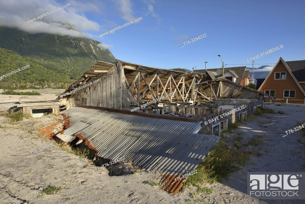 Stock Photo: Home destroyed by the Chaitén volcano eruption, Chaitén, Patagonia, Chile.