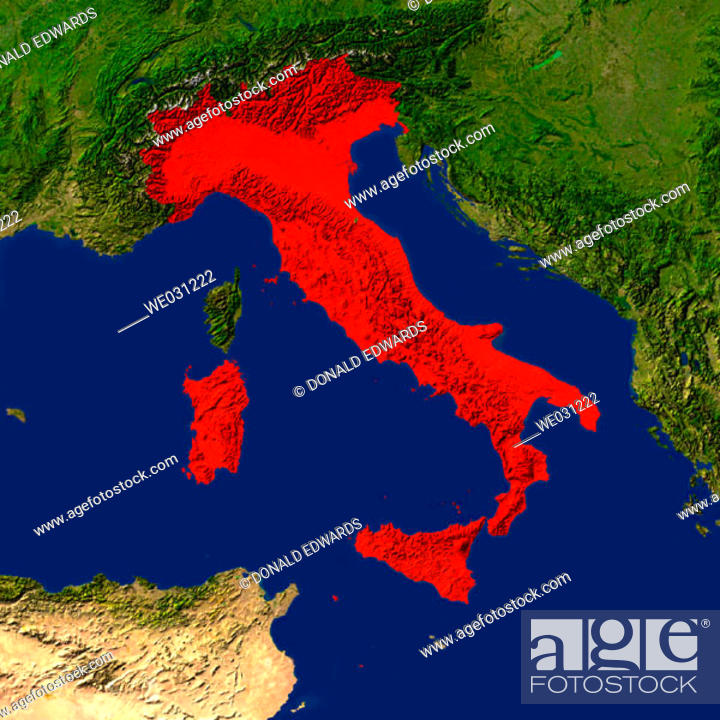 Stock Photo: Highlighted satellite image of Italy.