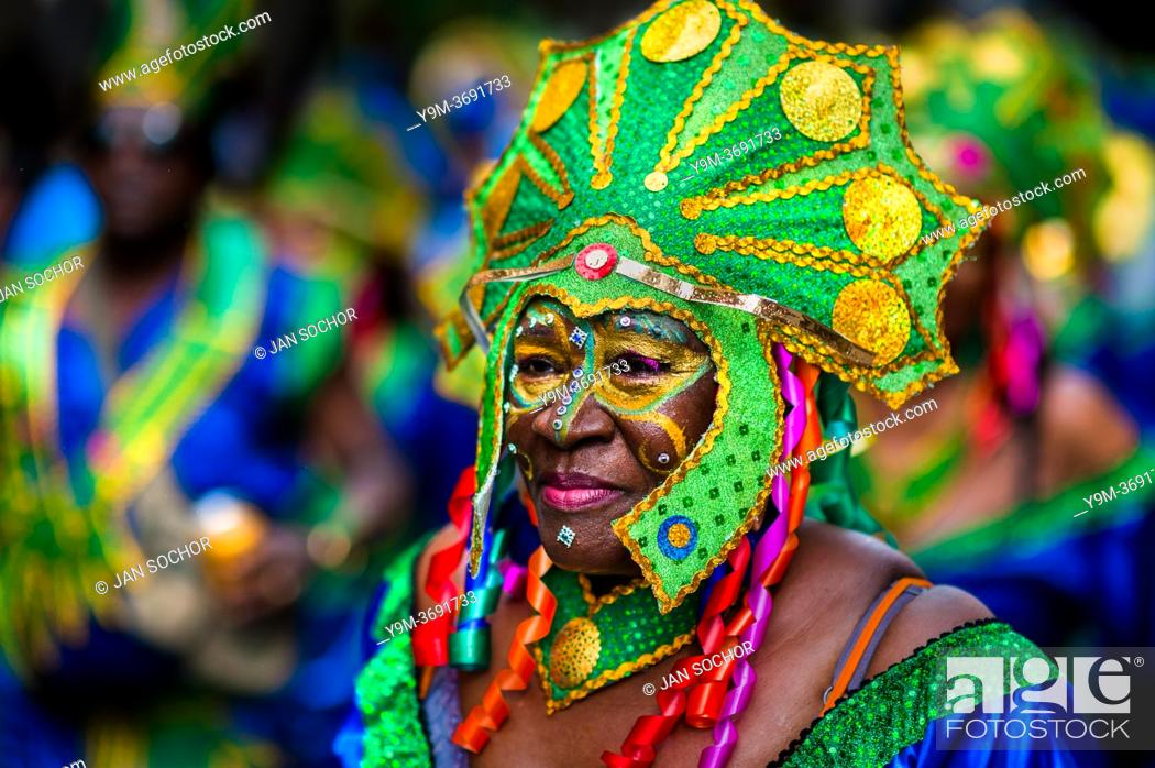 Stock Photo: An Afro-Colombian dancer of the Pandeyuca neighborhood takes part in the San Pacho festival in Quibdó, Colombia, 29 September 2019.