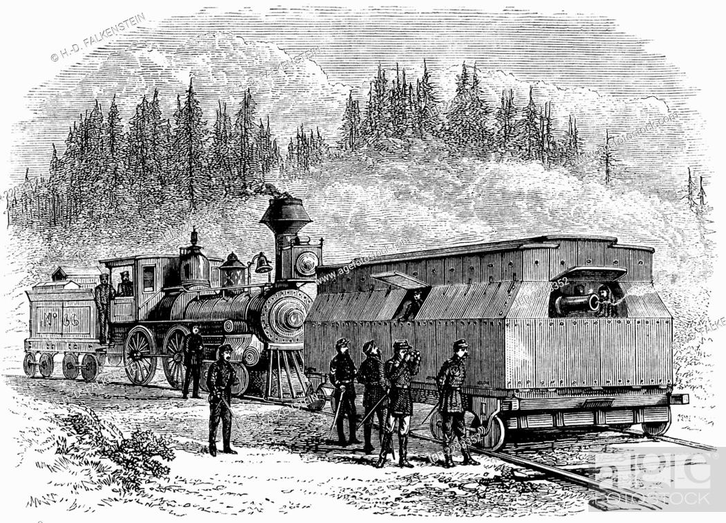 Historical drawing, US-American history, 19th century, steam