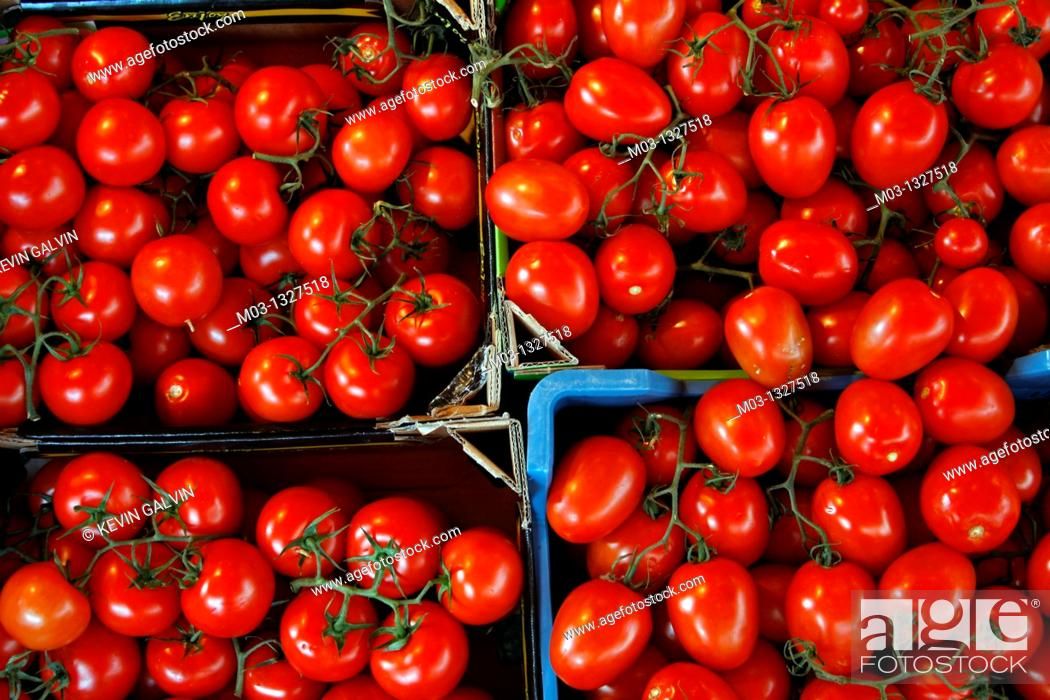 Stock Photo: Germany Bavaria Berchtesgaden land Bavarian fruits and vegetables in market tomatoes.
