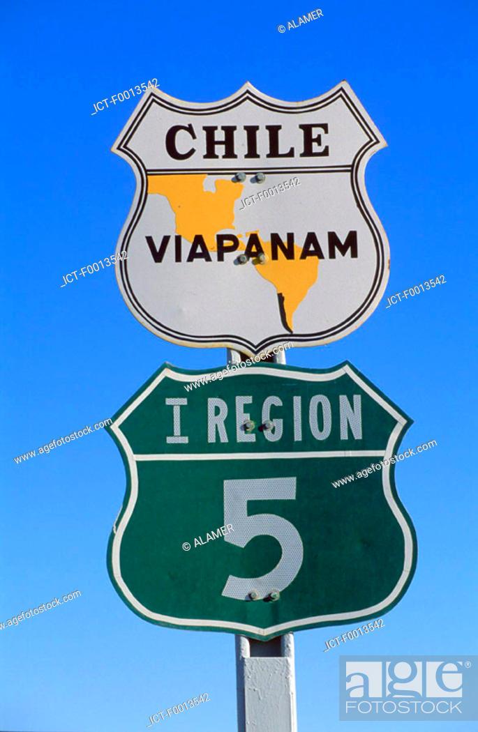 Stock Photo: Chile, Panamericana road.