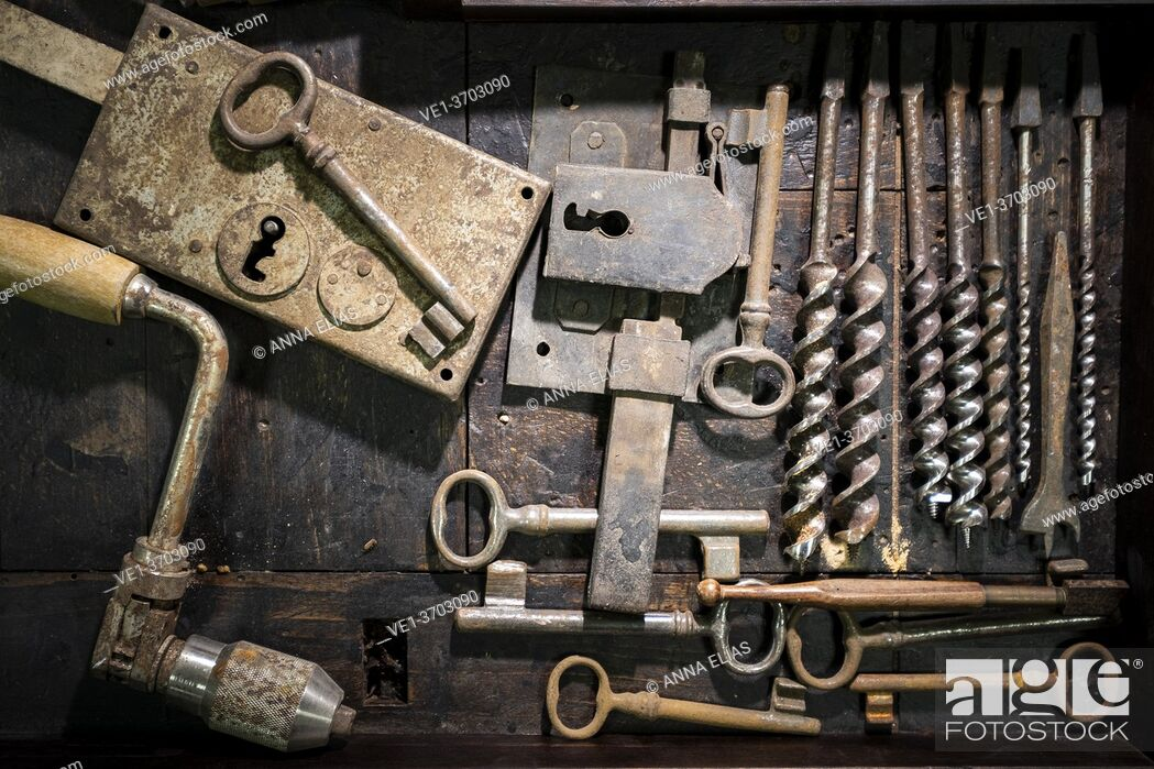Stock Photo: set of traditional carpentry and locksmith tools.