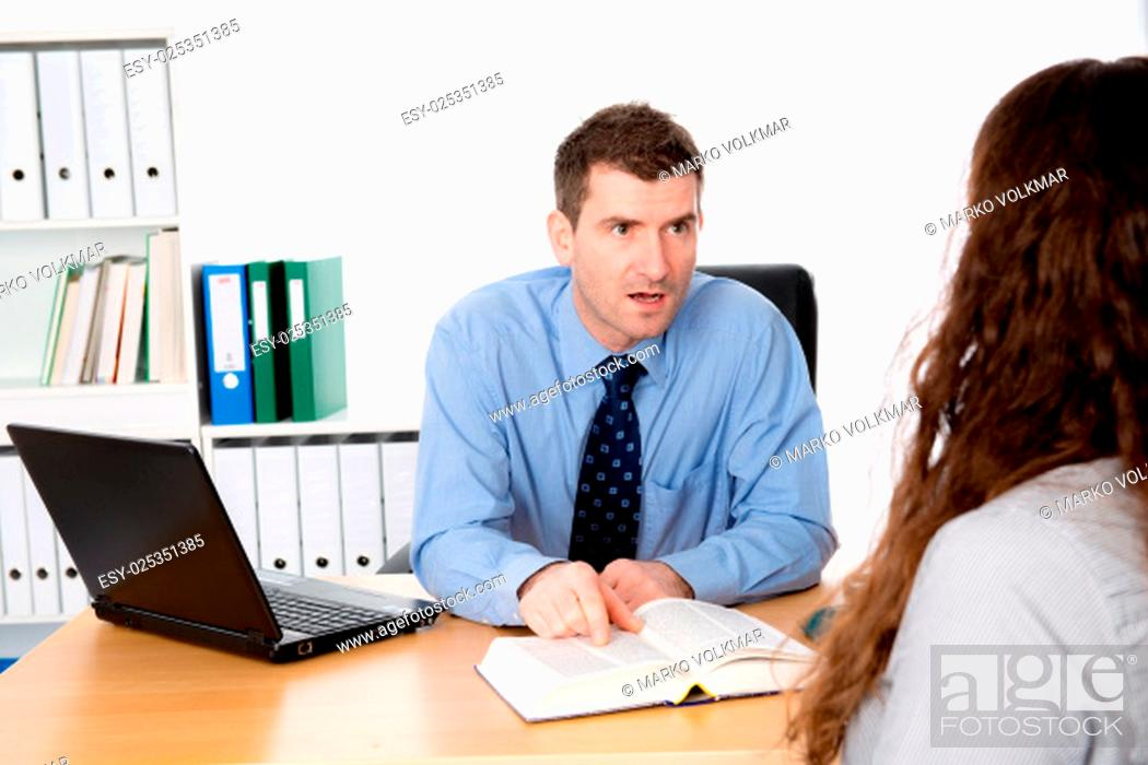 Stock Photo: business man and woman in counseling interview.
