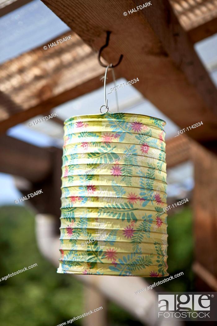 Stock Photo: A paper lantern hanging.