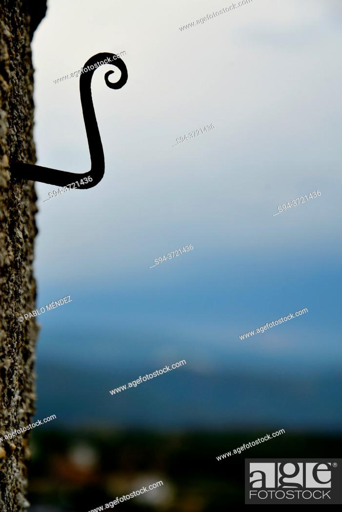 Stock Photo: Hook in a wall of castle of O Bolo, Orense, Spain.