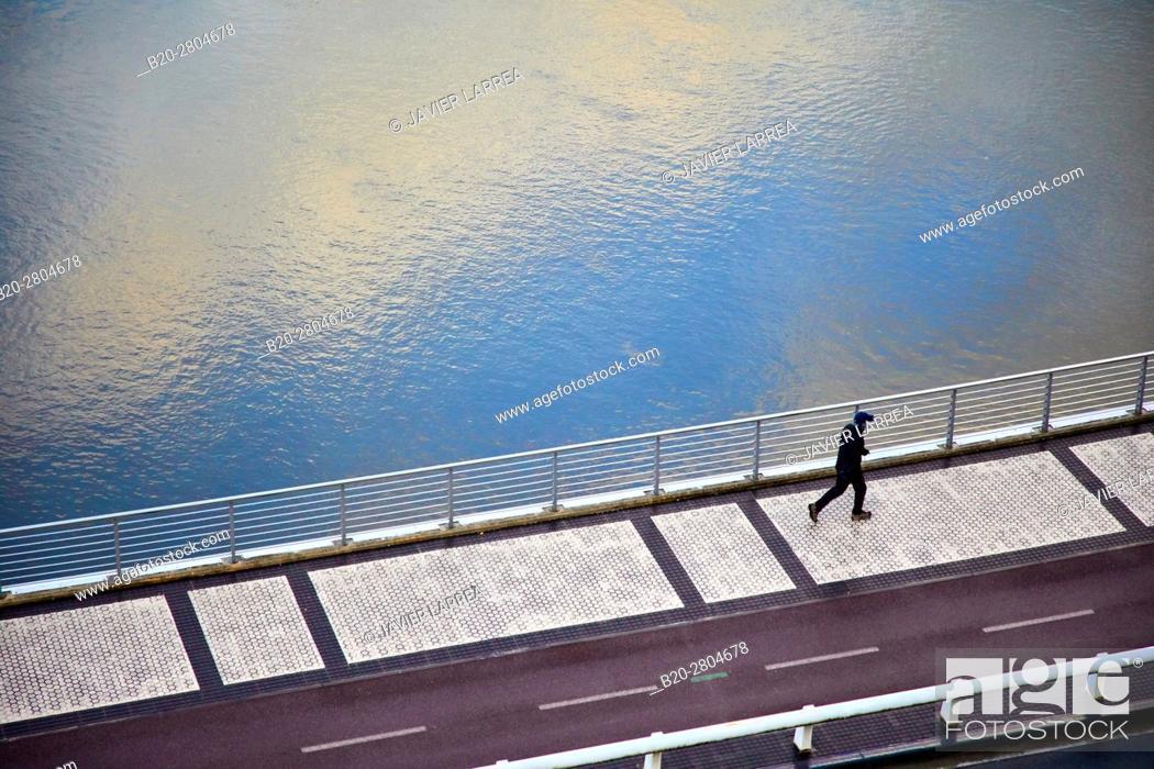 Stock Photo: Walking on the banks of the river Urumea, San Sebastian, Gipuzkoa, Basque Country, Spain, Europe.