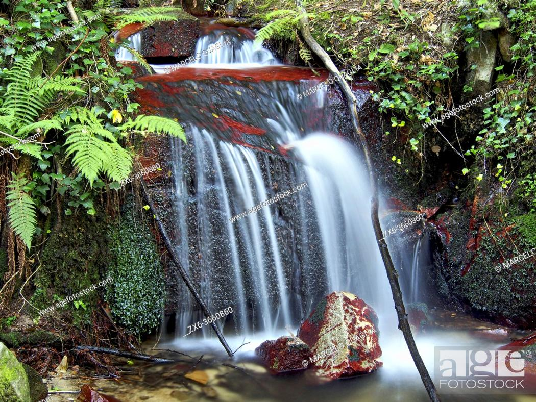 Stock Photo: Small water fall at Sot de L'Infern stream. Arbucies village countryside. Montseny Natural Park. Barcelona province, Catalonia, Spain.