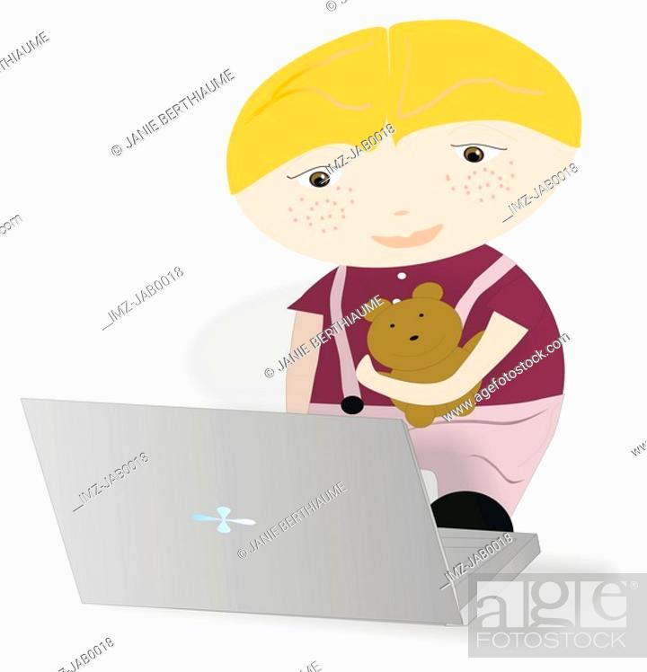 Stock Photo: A toddler holding his softtoy and using a laptop.