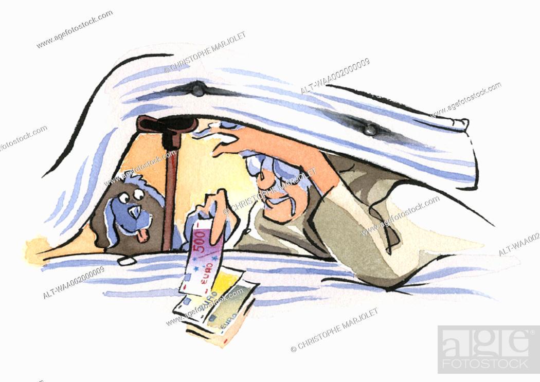 Stock Photo: Person hiding euros under mattress.