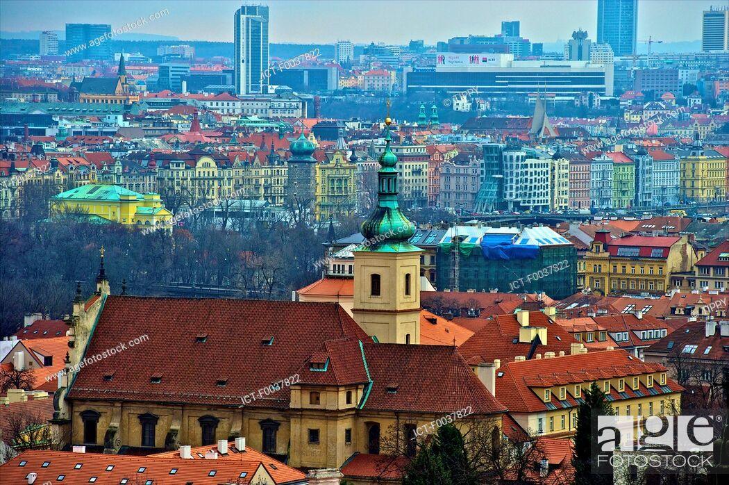 Stock Photo: Czech Republic, Prague, roofs.