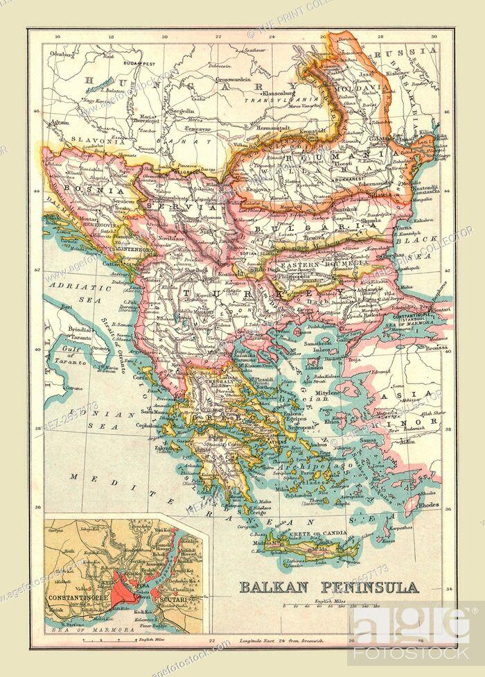 Map of the Balkan Peninsula, 1902. Creator: Unknown, Stock Photo ...