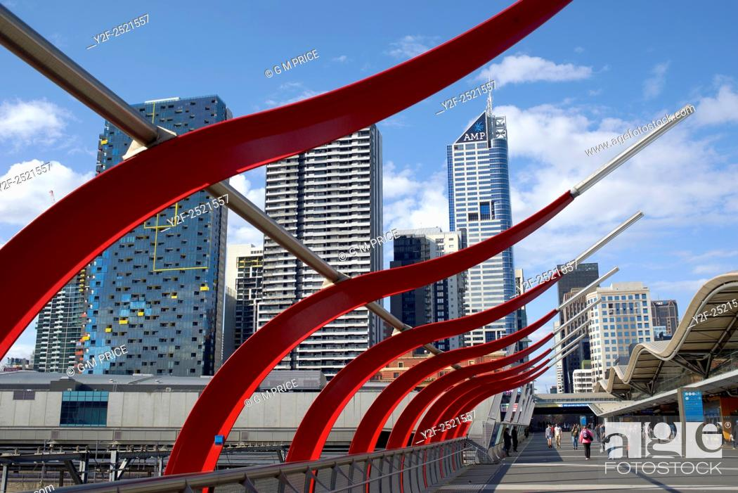 Stock Photo: Designed concourse at Spencer Street station and Melbourne city skyline, Australia.